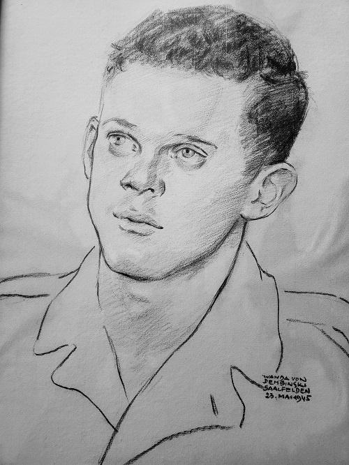 Szeregowy Webster narysowany przez pewną Niemkę w Saalfelden (Austria), maj 1945 r.