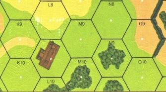 Z heksu M10 nie widać K9, bo budynek na L9 zasłania. Czy z L8 zobaczycie N9? A z K9 N9?