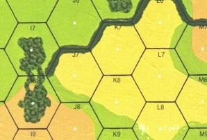 J7 strzelający w I8 będzie miał +2 do rzutu (bo ten drugi jest w lesie). Ile będzie miał do rzutu L8 strzelający w I7? (żółte pole to pole z nieskoszonym zbożem).