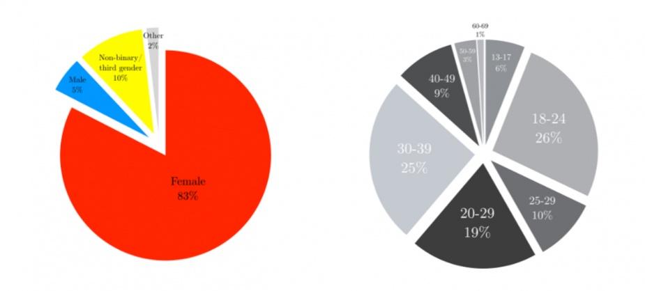 Po lewej: rozkład płci w grupie badanej, po prawej: udział grup wiekowych w badaniu (Fansplaining 2017)