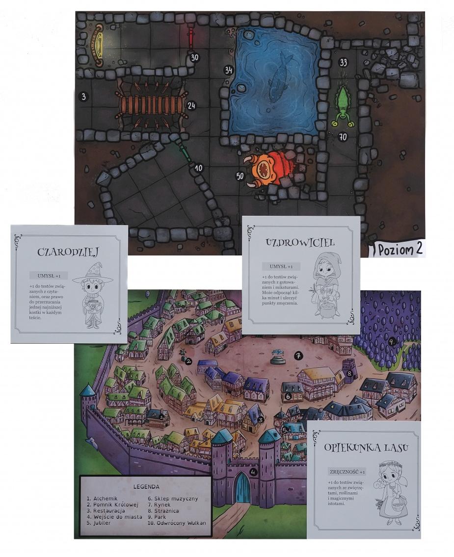 Mapy można wydrukować samemu. Są one dodatkiem do gry i rolą rodzica będzie informowanie dziecka gdzie jest jego postać.